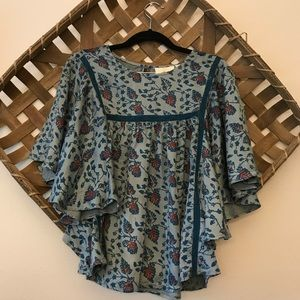 Anthropologie One Fine Day Flutter Sleeve Top
